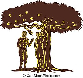 adam-and-eve-snake-in-tree-WC - Retro woodcut style...