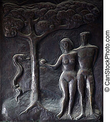 Adam and Eve, Illustrations of stories from the Bible on...