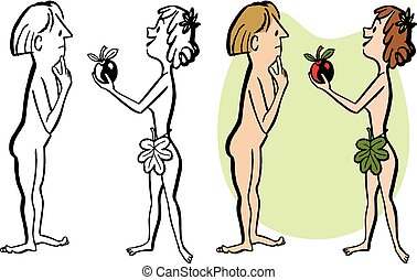 Adam and Eve - Adam is tempted by the forbidden apple by Eve...