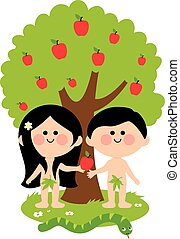 Vector Illustration of Adam, Eve and a snake under an apple tree. Eve giving apple to Adam.
