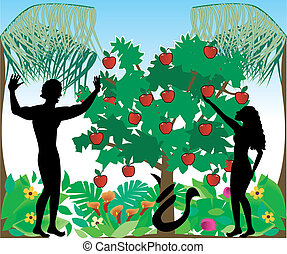 Vector Illustration of Adam warning Eve not to eat the forbidden fruit in the Garden of Eden.