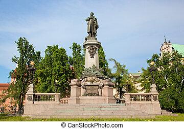 Adam Mickiewicz Monument in Warsaw, Poland at the Krakowskie...