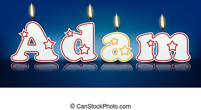 ADAM written with burning candles - vector illustration