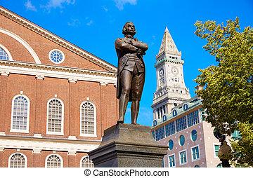 adams, boston, samuel, denkmal, faneuil-halle