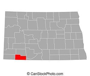 adams, dakota, nord, carte