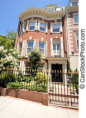 Adams Federal Style Red Brick Row House Metal Gate - Tidy...