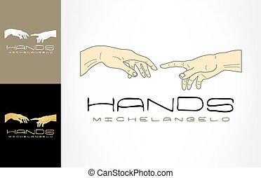 adam's, michelangelo, dios, manos, logo.