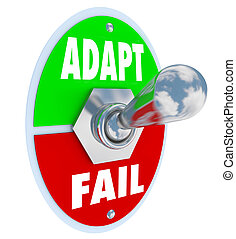 Adapt Vs Fail Words Toggle Switch Success Life Career Change...