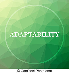 Adaptability icon. Adaptability website button on green low ...