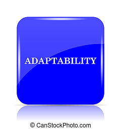 Adaptability icon, blue website button on white background.