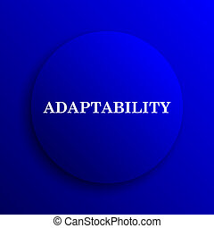 Adaptability icon. Internet button on blue background.