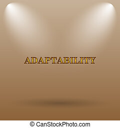 Adaptability icon. Internet button on brown background.