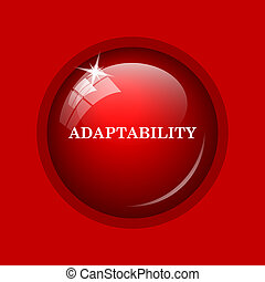 Adaptability icon. Internet button on red background.