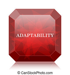 Adaptability icon, red website button on white background.