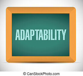 Adaptability sign message illustration design over a white ...