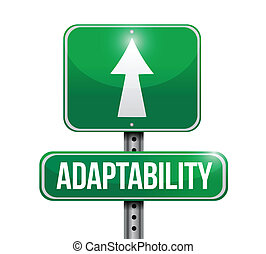 adaptability signpost illustration design over a white ...