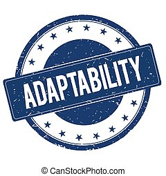 ADAPTABILITY stamp sign text word logo blue.