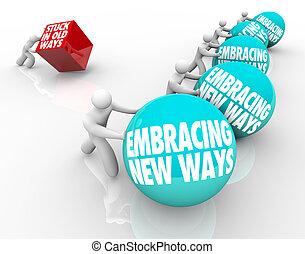 adaptando, antigas, maneiras, desafio, aderido, vs, abraçar,...