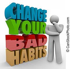 adaptando, bom, sucesso, pensador, mau, hábitos, qualities,...