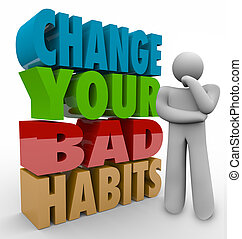 adaptar, bueno, éxito, pensador, malo, hábitos, qualities, su, cambio