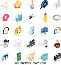 Adaptation icons set, isometric style - Adaptation icons...