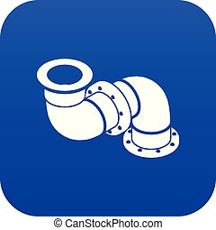 Adapter pipe icon blue vector isolated on white background