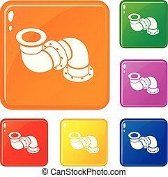 Adapter pipe icons set vector color - Adapter pipe icons set...