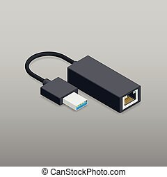 Adapter usb to ethernet isometric icon vector graphic...
