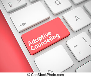 adaptief, -, key., toetsenbord, counseling, boodschap, 3d., rood
