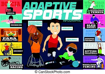 Adaptive Sports Disabled Athletes Infographics - A vector...