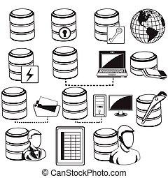 adatbázis, fekete, ikonok