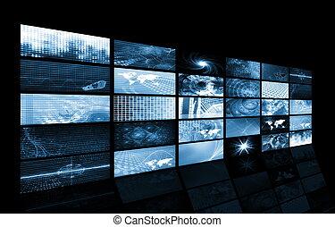 adatok, energia, rács, hálózat, futuristic