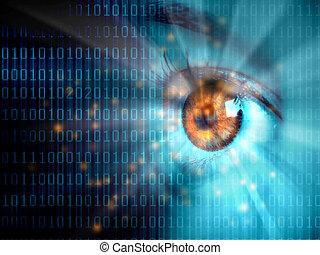 adatok, szem, folyik, digitális