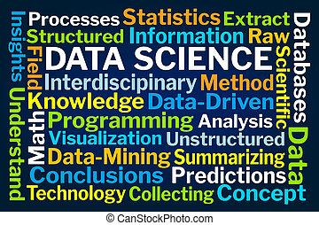 adatok, tudomány, szó, felhő