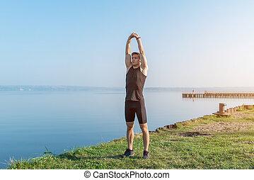 adattare, atletico, su, mattina, durante, uomo, warming,...