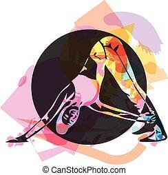 adattare, donna, giovane, abbigliamento sportivo