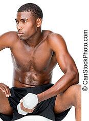 adattare, dumbbell, shirtless, sollevamento, uomo, giovane, determinato