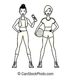 adattare, esercizio, donne