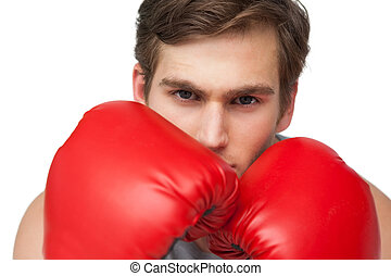adattare, pugilato, uomo, guanti, rosso, il portare