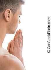 adattare, sopra, indietro, isolato, praying., fondo, ritratto, bianco, uomo, svestito, vista laterale