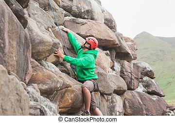 adattare, uomo, scaling, uno, grande, faccia roccia