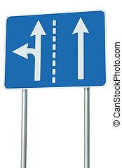 adatto, corsie traffico, a, incrocio, giunzione, sinistra, turno, uscita, avanti, isolato, blu, segno strada, bianco, frecce, eu, europeo, bordo della strada, signage, astratto, alternativa, tracciato, scelta, metafora