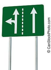 adatto, corsie traffico, a, incrocio, giunzione, sinistra, turno, uscita, avanti, isolato, verde, segno strada, bianco, frecce, eu, europeo, bordo della strada, signage, astratto, alternativa, tracciato, scelta, metafora