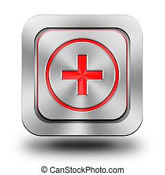 Add aluminum glossy icon, button, sign