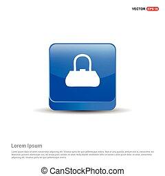 add Bag or purse icon - 3d Blue Button
