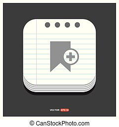 Add Bookmark ribbon icon Gray icon on Notepad Style template Vector EPS 10 Free Icon
