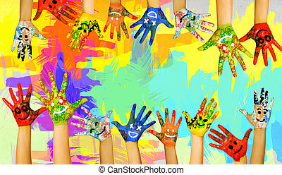 Add color to life - Image of human hands in colorful paint...