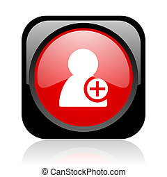 add contact black and red square web glossy icon