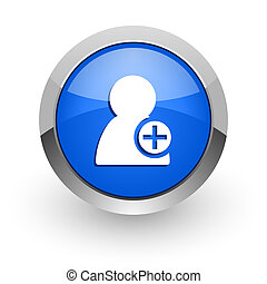 add contact blue glossy web icon