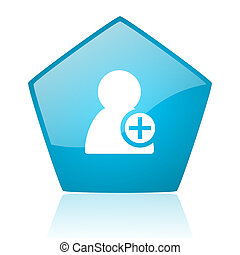 add contact blue pentagon web glossy icon